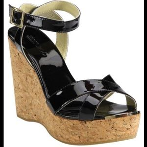 Authentic Jimmy Choo Black Patent Leather Wedges